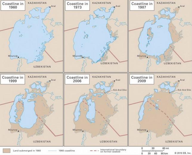 La progresiva desaparición del mar de Aral. Fuente: Mappery