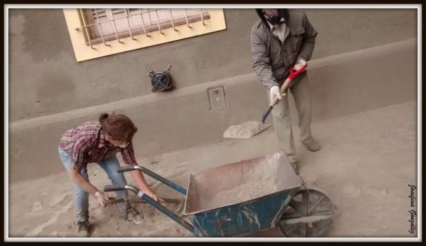 Profesores arreglan el colegio María Auxiliadora. Foto: Josefina González.