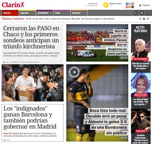 Portada del argentino Clarín