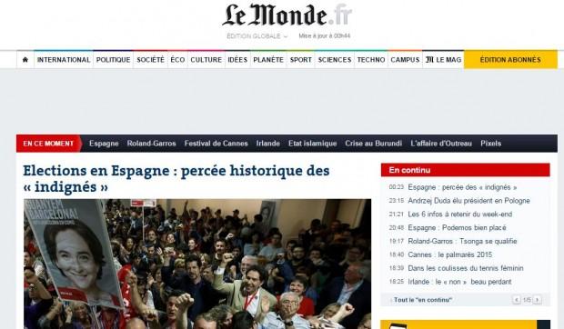 Portada del diario francés Le Monde