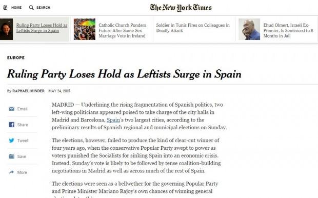 La noticia en The New York Times