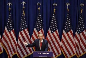 El magnate estadounidense Donald Trump durante el anuncio de su candidatura en Nueva York. (EFE)