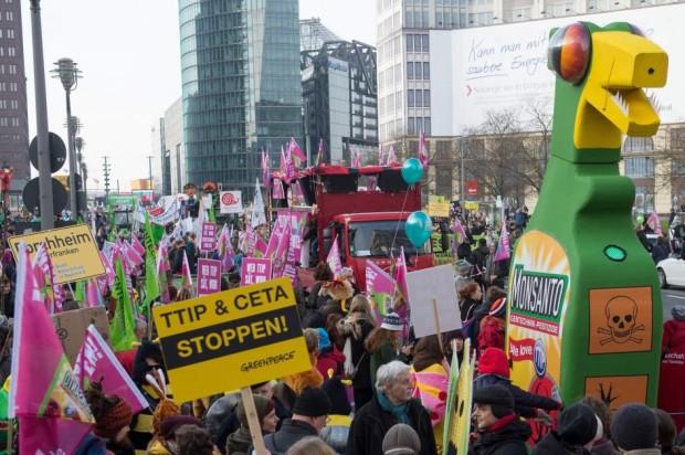 Protesta el pasado enero en Berlín contra el TTIP / GTRES