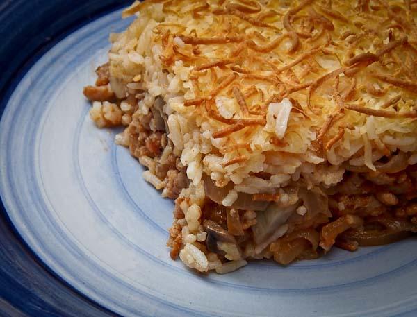 Pastel de carne y arroz la gulateca - Que cocinar con carne picada ...