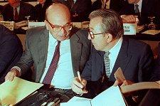 Betino Craxi y Gulio Andreotti en los años 80