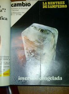 """La """"rentrée"""" de Sampedro. Portada del nº 1 del semanario Cambio 16 (22-11-1971)"""