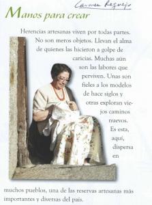"""Carmen Requejo, de joven, bordando pájaros que miran hacia atrás y que -según ella- """"representan a la mujer enamrada"""".e"""