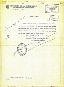 """""""Informe urgente del SUT"""" del Ministerio de la Gobernación al Cmisario del SEU (1967)"""