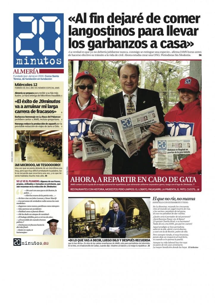 Portada de una edición ficticia de 20 minutos Almería