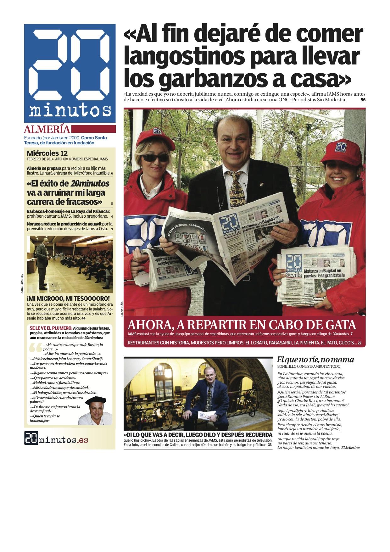 Portada de una edición ficticia de 20 minutos Almería 560252a9772