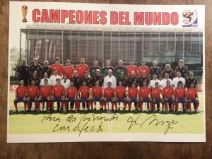 """Poster firmado por del Bosque en """"La Raqueta"""""""
