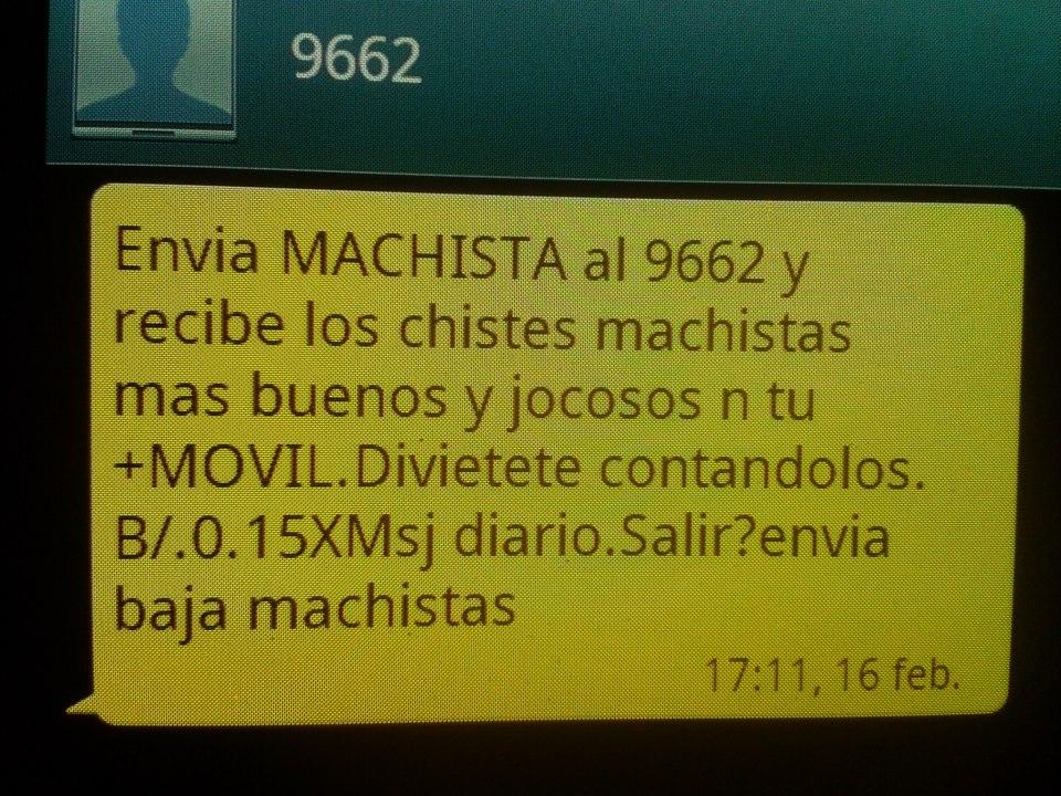Un SMS incitando a recibir comentarios machistas (Fuente: ONU Mujeres)