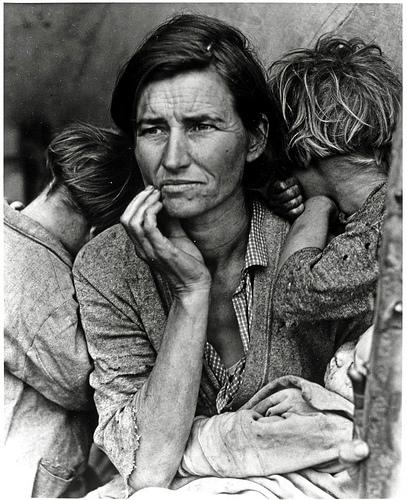 Imagen de una mujer en la Gran Depresión de Estados Unidos