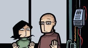 Cristina y Miguel Ángel observan a Laia desde el otro lado del cristal. Viñeta de portada de Una posibilidad entre mil
