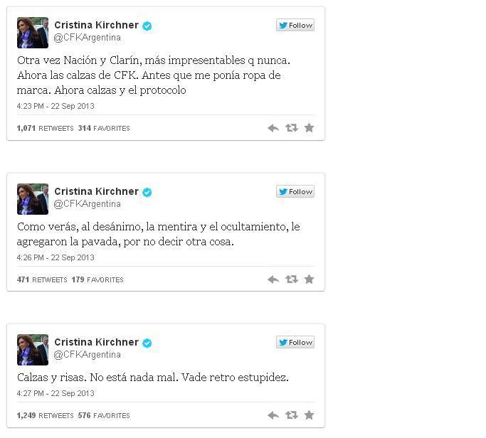 Tuits de Cristina Fernández sobre las críticas a su ropa