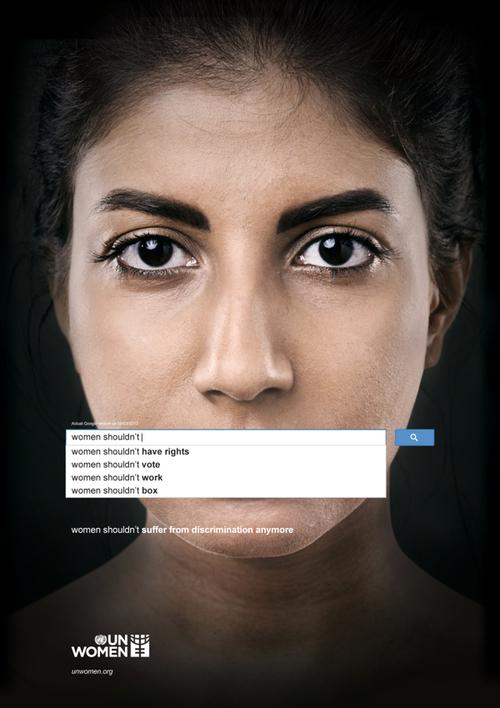 'Las mujeres no deberían Las mujeres no deberían tener derechos Las mujeres no deberían votar Las mujeres no deberían trabajar Las mujeres no deberían boxear Las mujeres no deberían sufrir discriminación nunca más Imagen: UN Women