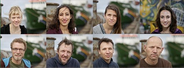 Retratos de varios de los activistas de Greenpeace detenidos por protestar contra la perforación del Ártico. Greenpeace.