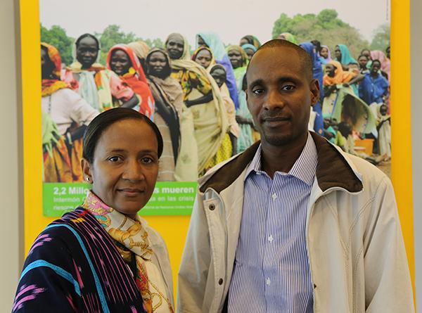 Hindatou N. Amadou y El Hadj Mamadou Bâ ayer en la sede de Oxfam Intermón en Madrid