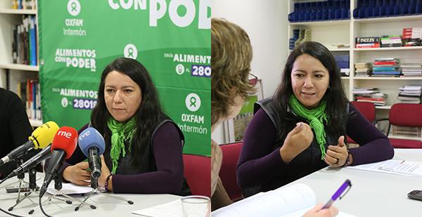 Alicia Amarilla ayer durante la rueda de prensa y posterior entrevista en la sede de Oxfam Intermón en Madrid. (c) Ana Sara Lafuente / Oxfam Intermón