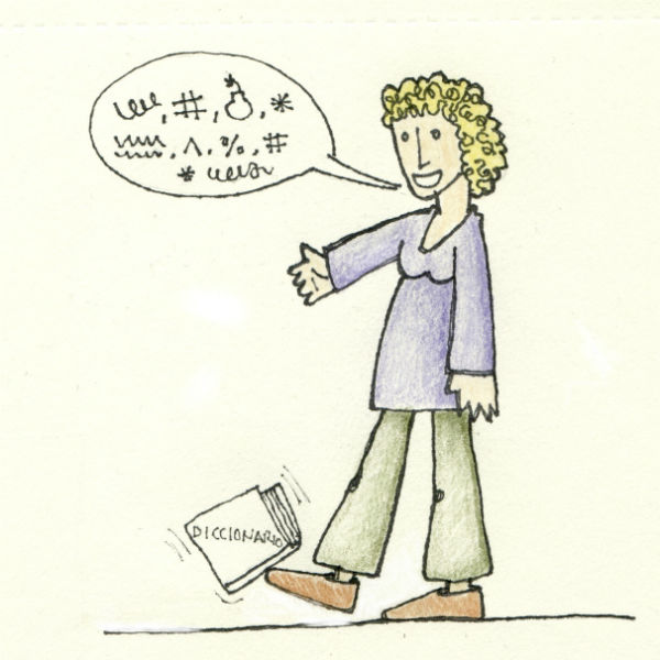 'Patada al diccionario'. Ilustración original de Anasara Lafuente.
