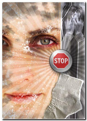 Stop a la violencia contra la mujer. Imagen: Comisión de Investigación de Malos Tratos a Mujeres. www.malostratos.org
