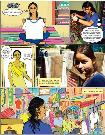 Página del comic. Imagen: http://www.globalfundforwomen.org/