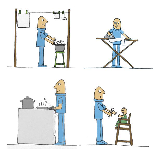 Pepe en sus tareas. Ilustración original de Ana Sara Lafuente. http://www.alafuente.es