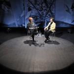 La Premio Nobel de la Paz iraní, Shirin Ebadi, en la charla conducida por Rosa Mª Calaf el pasado año. Imagen: Juan Martín.
