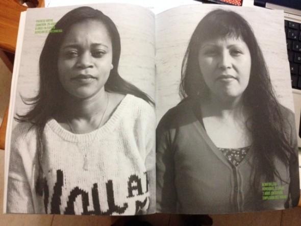 Doble página del informe, con dos retratos de mujeres inmigrantes. Imagen: Archivo Pueblos Unidos.