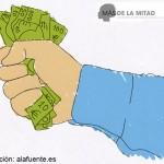 Un síntoma de maltrato es el control del dinero, la limitación o dificultad para el trabajo de la persona maltratada, la negación de la autonomía económica. Ilustración de Ana Sara Lafuente.