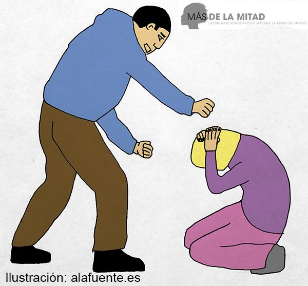 Con frecuencia, el maltratador obliga a la víctima a obedecer sus caprichos mediante coerción  y amenazas. Ilustración de Ana Sara Lafuente.