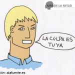 El maltratador niega el problema, le quita importancia o culpa de él a la víctima. Ilustración de Ana Sara Lafuente.