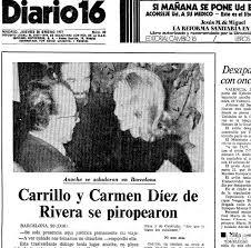 Imagen del encuentro entre Díez de Rivera y Carrillo, al día siguiente en el periódico Diario 16.