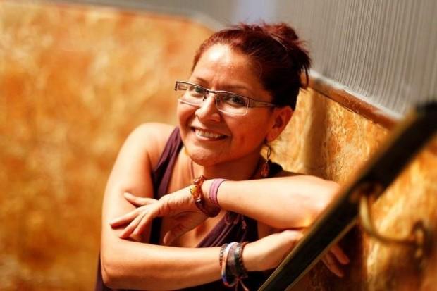 Juana Olivia Hernández posa durante el encuentro de mujeres activistas organizado por Oxfam Intermón el pasado octubre en Madrid (c) Jorge París / 20 minutos