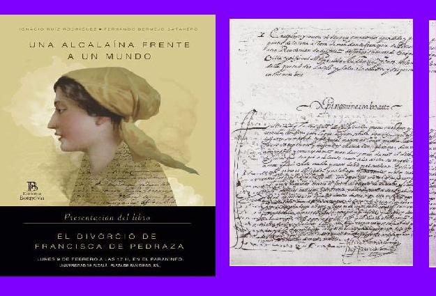 Portada del libro y página de la sentencia de divorcio de Francisca de Pedraza.