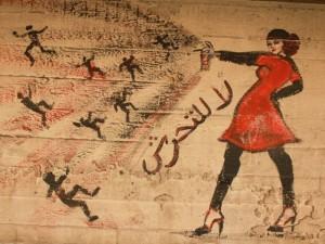Uno de los graffitis presentado al Women on walls