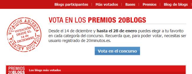Vota en los premios 20Blogs
