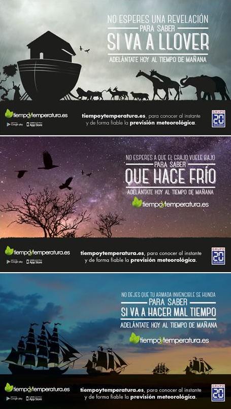 Campaña de otoño-invierno de la aplicación Tiempo y Temperatura, que ha ganado el premio a la Mejor creatividad en Pieza Gráfica para móvil en el Festival Europeo de Publicidad y Humor 'Smile Festival'.