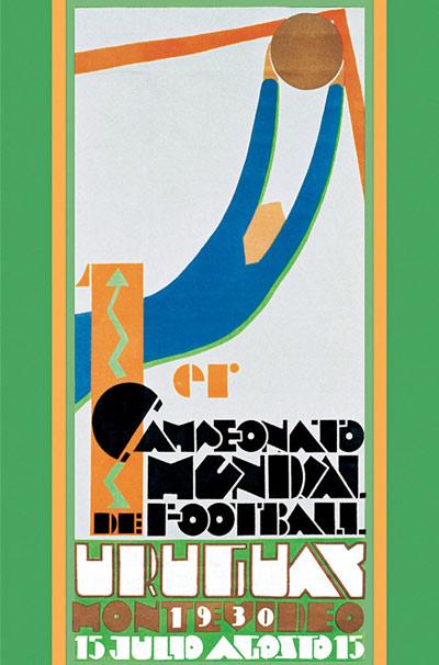 Cartel original del primer Mundial de fútbol (WIKIPEDIA).