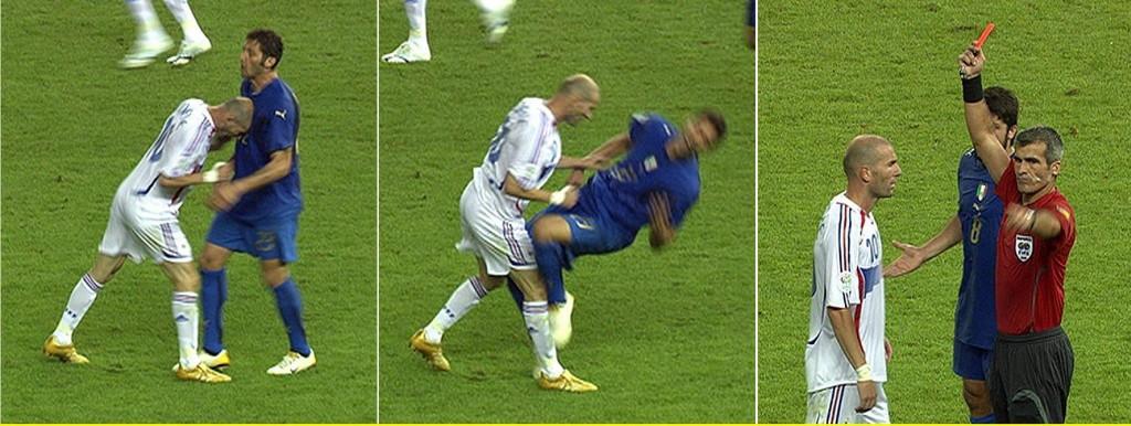 Secuencia de capturas de televisión en las que se ve el cabezazo de Zidane a Materazzi y el momento de la expulsión del francés (ARCHIVO 20MINUTOS).