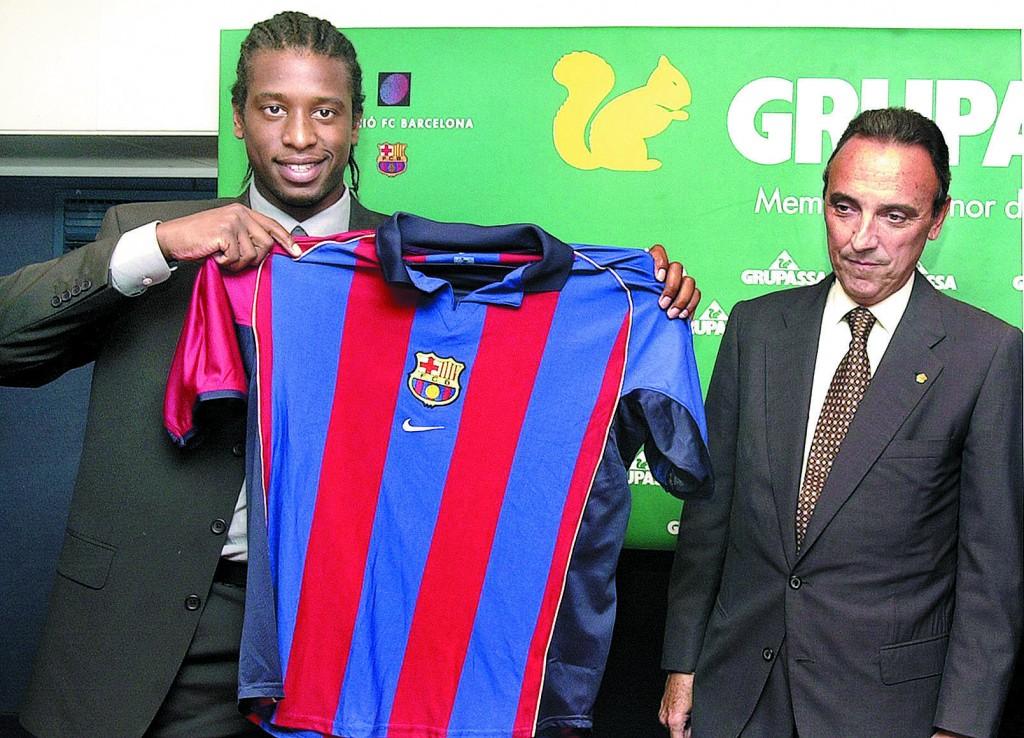 Philippe Christanval, el día de su presentación con el Barça, junto a Joan Gaspart (ARCHIVO 2MINUTOS)
