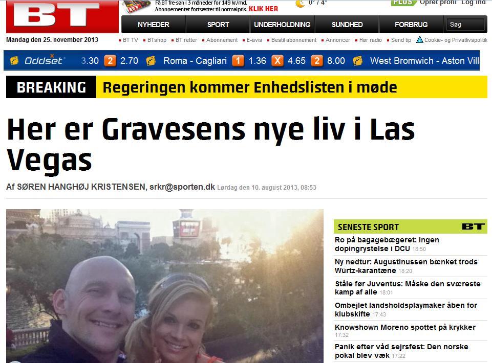 Reportaje de 'BT' donde habla del paradero de Gravesen (BT.DK)