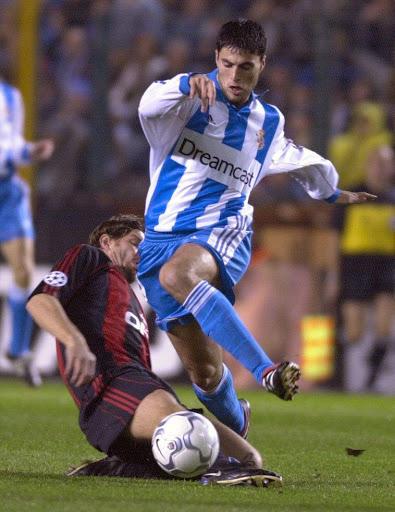 Diego Tristán, con el  Dépor en Champions (EFE)
