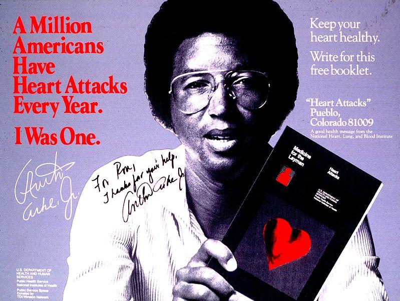 Cartel de una campaña contra las enfermedades cardiovasculares protagonizada por Arthur Ashe (WIKIPEDIA).