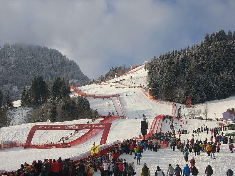 Vista de la pista principal de Kitzbühel, Austria (WIKIPEDIA)