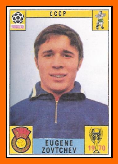 Evgeny Lovchev, en un cromo del Mundial 70 (está mal transliterado su apellido) (PANINI).