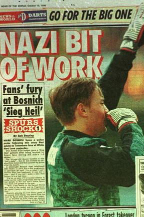 Portada del tabloide 'News of the World' con el incidente de Bosnich y el saludo nazi en White Hart Lane (News of the World).