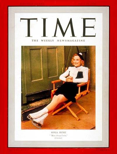 Henie, en la portada de la revista 'Time' en 1939 (TIME)