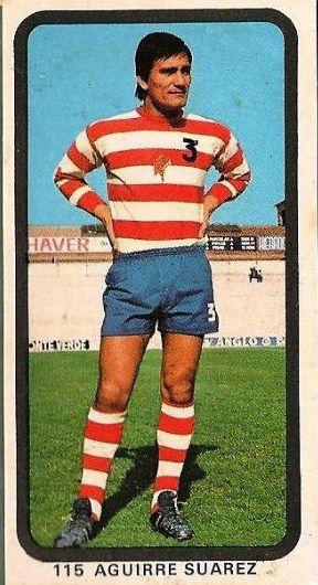 Ramón Aguirre Suárez, en la temporada 74/75, en una estampilla de la época.