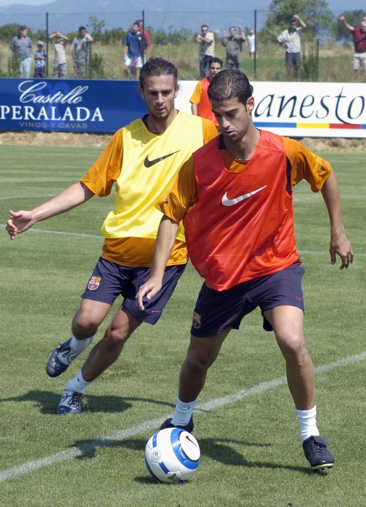Gerard, con Thiago Motta en un entrenamiento del FC Barcelona en la pretemporada 2004/2005 (Archivo 20minutos).